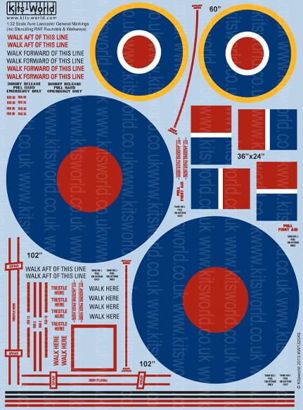 Kitsworld Kitsworld  - 1/32 Scale Decal Sheet Avro Lancaster General Markings KW132049