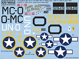Kitsworld Kitsworld  - 1/32 Scale Decal Sheet Lockheed P-38 KW132032