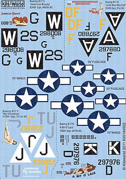 Kitsworld Kitsworld 1/144 Scale Decal Sheet B-17 Flying Fortress KW144002~