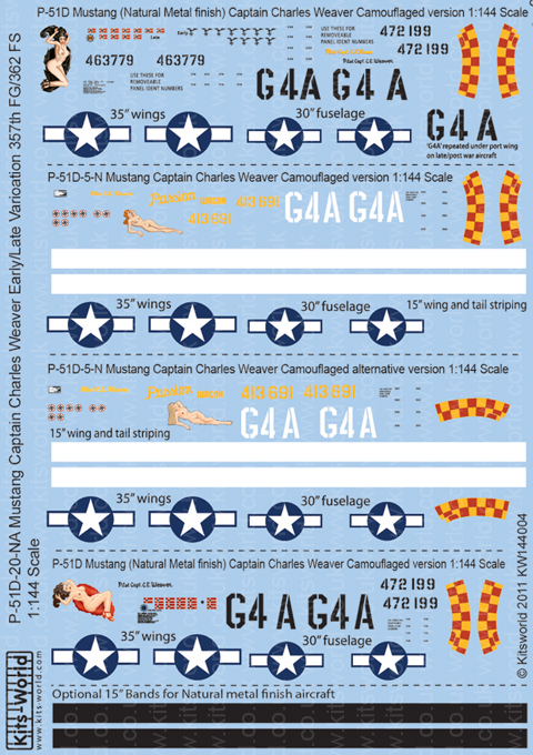 Kitsworld Kitsworld 1/144 Scale Decal Sheet P-51 Mustang KW144004~