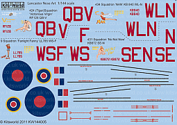 Kitsworld Kitsworld 1/144 Scale Decal Sheet Avro Lancaster Bomber KW144005