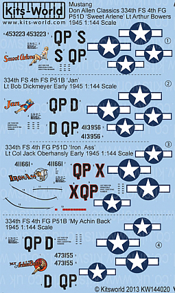 Kitsworld Kitsworld  - 1/144 Scale P-51B/D's Mustang Decal Sheet KW144020