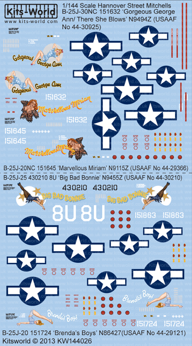 Kitsworld Kitsworld  - B-25J Mitchells 1/144 Scale Decal Sheet KW144026