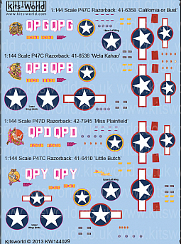 Kitsworld Kitsworld  - 1/144 Scale Decal Sheet P-47C/D Razorbacks KW144029