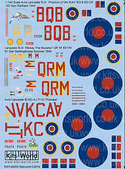 Kitsworld Kitsworld  - 1/144 Scale Decal Sheet BI - BIII Avro Lancasters~