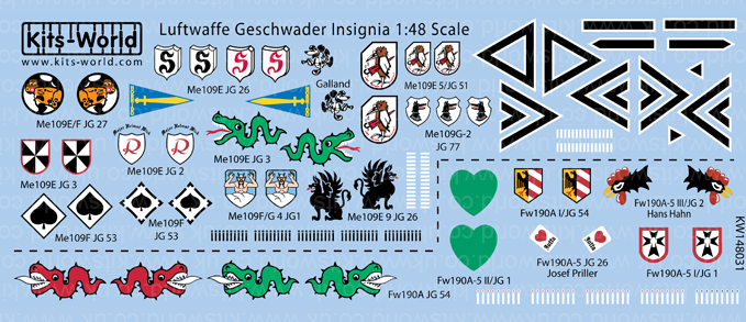 Kitsworld Kitsworld 'Luftwaffe Geschwader Insignia'  1/48 Scale Decal Sheet KW148031
