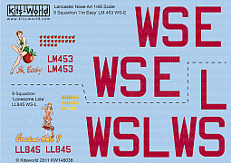 Kitsworld Kitsworld Lancaster Bomber- 1/48 Scale Decal Sheet KW148038 9 Squadron 'I'm Easy' LM453 WS-E, 'Lonesome Lola' LL845 WS-L