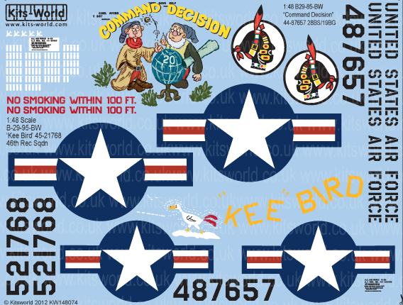 Kitsworld Kitsworld  - 1/48 Scale Decal Sheet B-29 Super Fortress KW148074