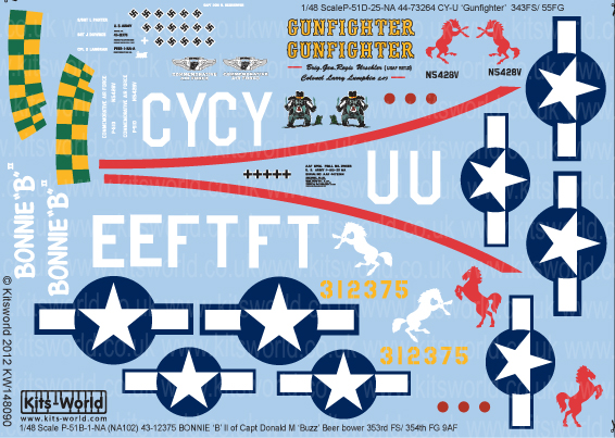 Kitsworld Kitsworld  - 1/48 Scale Decal Sheet P-51D Mustangs KW148090