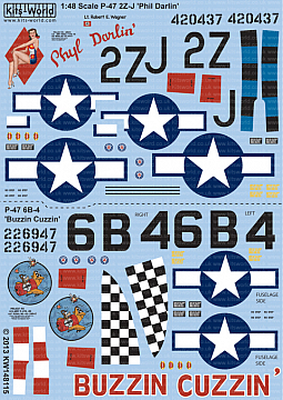 Kitsworld Kitsworld  - 1/48 Scale P-47D Thunderbolts Bubbletop Decal Sheet KW148115