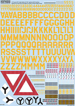 Kitsworld Kitsworld B17 F/G Flying Fortress - 1/72 Scale Decal Sheet KW172006 Aircraft ID - Squadron ID Lettering - Numbers - Bomb (Yellow) Group Symbols