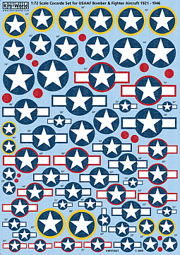 Kitsworld Kitsworld USAAF Cocarde/'Star & Bars' Set- 1/72 Scale Decal Sheet KW172021  Set of 'standard' cocarde markings. 1921 - 1946