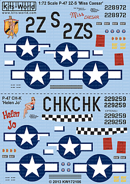 Kitsworld Kitsworld  - P-47D Thunderbolts Bubbletop 1/72 Scale Decal Sheet KW172106