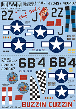 Kitsworld Kitsworld  - P-47D Thunderbolts Bubbletop 1/72 Scale Decal Sheet KW172107