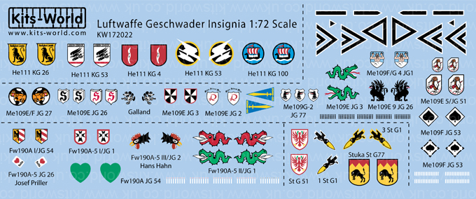 Kitsworld Kitsworld 'Luftwaffe Geschwader Insignia' 1/72 Scale Decal Sheet KW172022