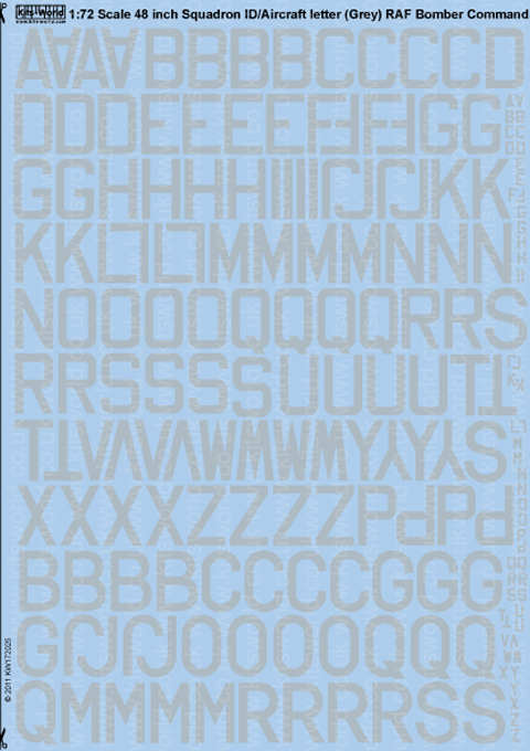 Kitsworld Kitsworld 48' Code Letters (Medium Sea Grey)1/72 Scale Decal Sheet KW172025 Camouflage, Colourings and Markings of Aircraft -1937 - Jan 1941