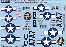 Kitsworld Kitsworld 1/72 Scale Decal Sheet P-47 Thunderbolt KW172044~