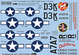 Kitsworld Kitsworld 1/72 Scale Decal Sheet P-47 Thunderbolt KW172045~