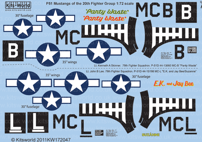 Kitsworld Kitsworld 1/72 Scale Decal Sheet P-51D Mustang KW172047~