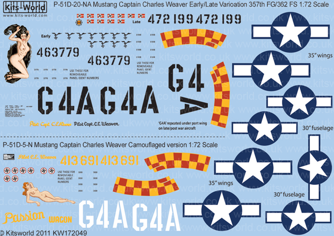 Kitsworld Kitsworld 1/72 Scale Decal Sheet P-51D Mustang KW172049~