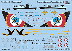 Kitsworld Kitsworld SAM72001 '100 Ans de l'Aeronavale' 1/72 Scale Decal Sheet SAM72001 Dassault-Breguet Super Etendard - Northrop Grumman E-2C Hawkeye.