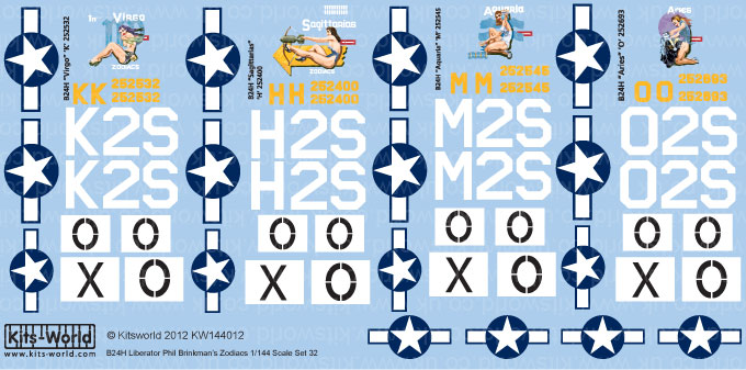 Kitsworld Kitsworld  - 1/144 Scale Decal Sheet B-24 Liberators KW144012