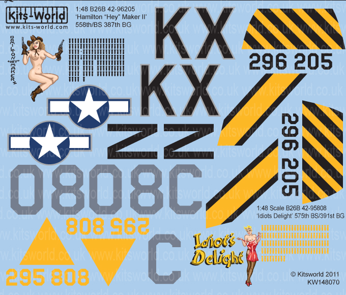 Kitsworld Kitsworld  - 1/48 Scale Decal Sheet B-26 Marauders KW148070