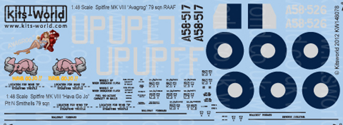 Kitsworld Kitsworld  - 1/48 Scale Decal Sheet Spitfire MK VIII KW148078