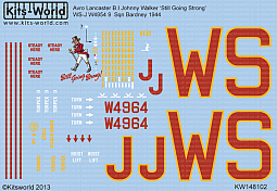 Kitsworld Kitsworld  - 1/48 Scale Decal Sheet Avro Lancaster B.I KW148102 Avro Lancaster B.I~
