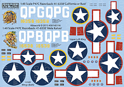 Kitsworld 1/48 Scale P-47C Razorback Decal Sheet