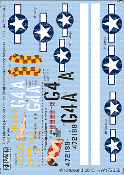 Kitsworld Kitsworld 1/72 Scale Decal Sheet P-51D Mustang KW172050
