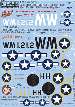 Kitsworld Kitsworld  - 1/72 Scale Decal Sheet P-38 Lightning KW172064
