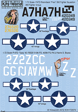 Kitsworld Kitsworld  - 1/72 Scale Decal Sheet P-47 Thunderbolts KW172070