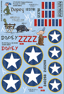 Kitsworld Kitsworld  - 1/72 Scale Decal Sheet  B-24D Liberator KW172112 B 24D 343 BS 98 BG - CO 41-23781/42-40268 Dopey/Arkansas Traveler - Versions I & II~