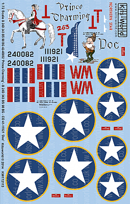 Kitsworld Kitsworld  - 1/72 Scale Decal Sheet B-24D Liberator KW172113 B 24D 343 BS 98 BG 42-40082 Prince Charming  - B 24D 343 BS 98 BG - CO 41-11921 Doc~