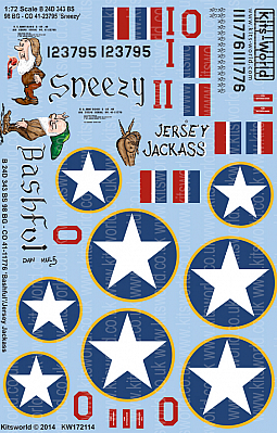 Kitsworld Kitsworld  - 1/72 Scale Decal Sheet B-24D Liberator KW172114 B 24D 343 BS 98 BG - CO 41-23795 Sneezy - B 24D 343 BS 98 BG - CO 41-11776 Bashful/Jersey Jackass~