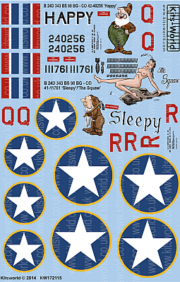 Kitsworld Kitsworld  - 1/72 Scale Decal Sheet B-24D Liberator KW172115 B 24D 343 BS 98 BG - CO 42-40256 Happy - B 24D 343 BS 98 BG - CO 41-11761 Sleepy/The Squaw~