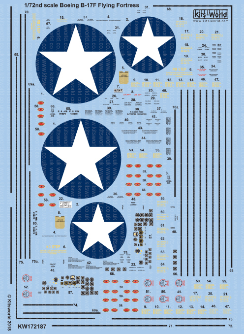 Kitsworld Kitsworld  - 1/72 Scale Boeing B-17F Decal Sheet KW172187