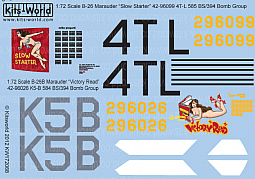 Kitsworld Kitsworld  - 1/72 Scale Decal Sheet B-26 Marauders KW172068