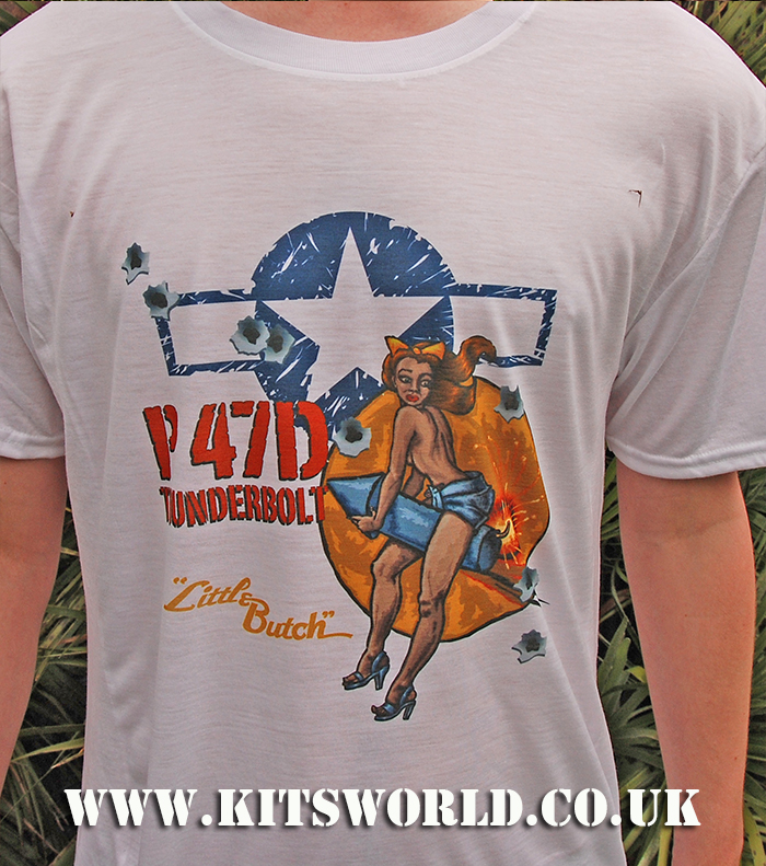 Kitsworld Kitsworld Nose Art T-Shirts P-47 Little Butch Nose Art T-Shirt P-47D Little Butch~~