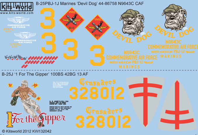 Kitsworld Kitsworld  - 1/32 Scale Decal Sheet B-25J Mitchell KW132042