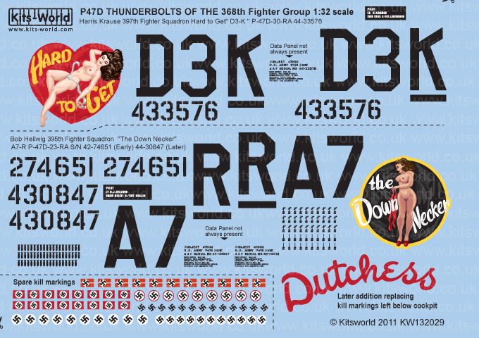 Kitsworld Kitsworld  - P47D Thunderbolts 1/32 Scale Decal Sheet KW132029