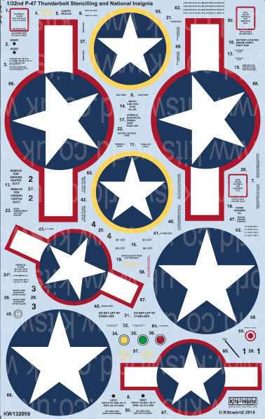 Kitsworld 1/32 scale decal sheet P-47 Thunderbolt KW132098 - P-47 Thunderbolts - Stars and Bars, USAAF Roundels and Stencilling Information