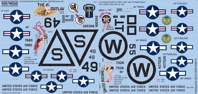 Kitsworld Kitsworld  - 1/144 Scale Decal Sheet B-29 Superfortress KW144014