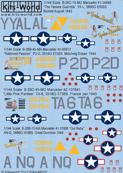 Kitsworld Kitsworld  - 1/144 Scale Decal Sheet B-26 Marauders KW144018