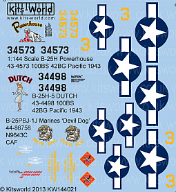 Kitsworld Kitsworld  - 1/144 Scale B-25 Mitchell Decal Sheet KW144021