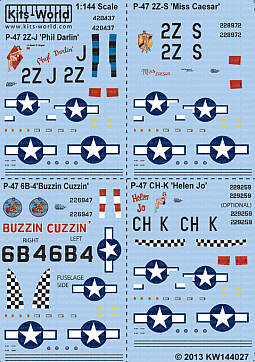 Kitsworld Kitsworld  - P-47D Thunderbolt Bubbletops 1/144 Scale Decal Sheet KW144027