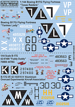 Kitsworld Kitsworld  - B-17G Flying Fortress 1/144 Scale Decal Sheet