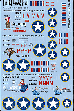 Kitsworld Kitsworld  - 1/144 Scale Decal Sheet B-24D Liberators~