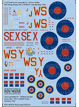 Kitsworld Kitsworld  - 1/144 Scale Decal Sheet BI Avro Lancaster~